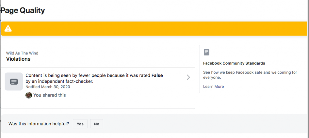 FB Page Quality Adversely Affected